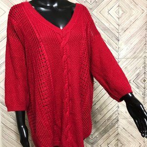 torrid 2 red cable knit v neck sweater